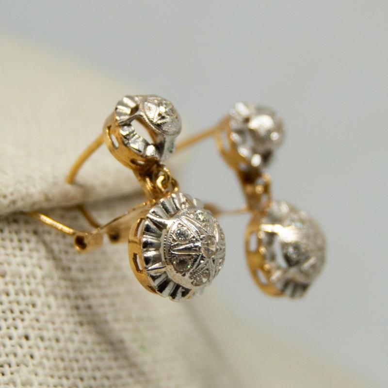 57b7156e5efe Pendientes antiguos de oro blanco y oro amarillo de 18K con circonitas