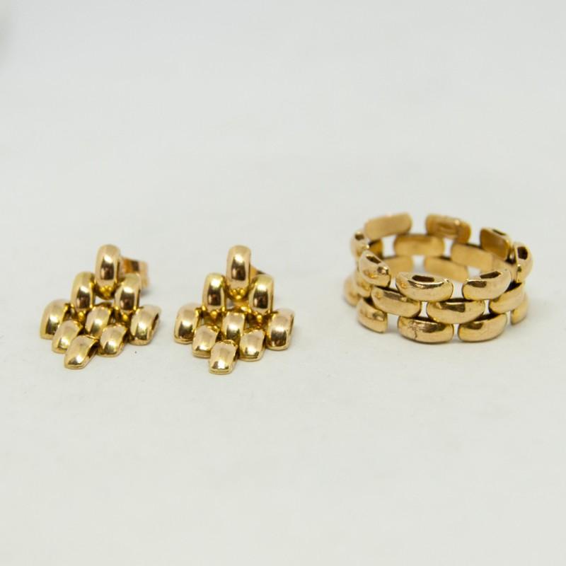 pendientes eslabones oro