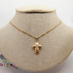 Cruz bicolor de oro de 18k